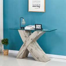 Xanti Glass X Base Console Table In Clear With Grey Oak Effect