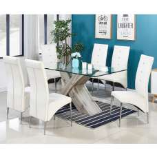 Xanti Glass Dining Table In Grey Oak Effect 6 Vesta White Chairs