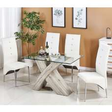 Xanti Glass Dining Table Small In Grey Oak 4 Vesta White Chairs