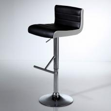 Xara Modern Bar Stool In Black Faux Leather With Chrome Base
