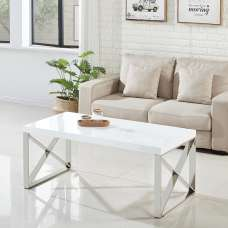 Xavier Coffee Table In White High Gloss And Stainless Steel