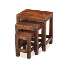 Zander Wooden Nest Of Tables In Sheesham Hardwood