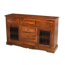 Zander Wooden Sideboard In Sheesham Hardwood With 2 Doors