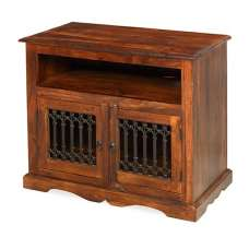 Zander Wooden TV Cabinet Small In Sheesham Hardwood With 2 Doors