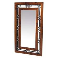 Zander Wooden Wall Mirror Tall In Sheesham Hardwood And Ironwork