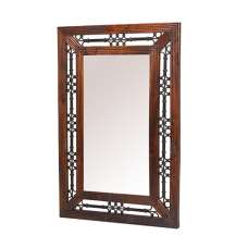 Zander Wooden Wall Mirror In Sheesham Hardwood With Ironwork