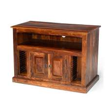 Zander Wooden TV Cabinet In Sheesham Hardwood With 2 Doors