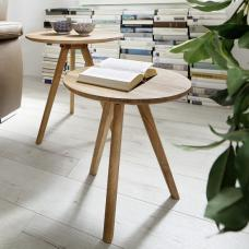 Zandra Set Of 2 Coffee Tables Round In Solid Oak