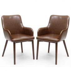 Zayno Dining Chair In Brown Leather Match In A Pair