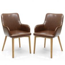 Zayno Dining Chair In Brown Leather Match Natural Legs In A Pair