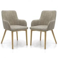 Zayno Fabric Dining Chair In Natural Tweed In A Pair