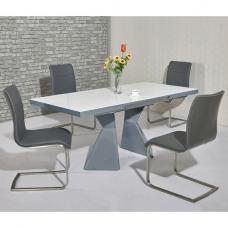 Zeta Extendable Glass Dining Set White Grey Gloss 6 Mezzi Chairs