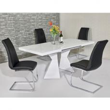 Zeta Extendable Glass Dining Set White Gloss 6 Orly Black Chairs