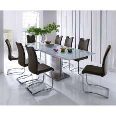 glass dining table and 8 chairs sets UK