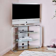 Wide range of corner TV stands, units and cabinets available in various colors, shapes and sizes
