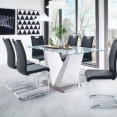 high gloss dining table and 6 chairs UK, white gloss dining table sets