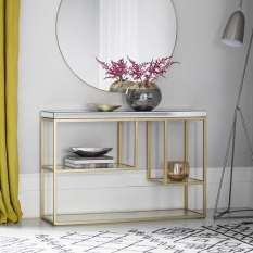 Console table with storage for hallways, living & dining rooms. In glass, wood & white high gloss
