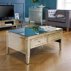 Mirrored living room furniture sets with coffee table, end lamp tables & sideboards finished in glass