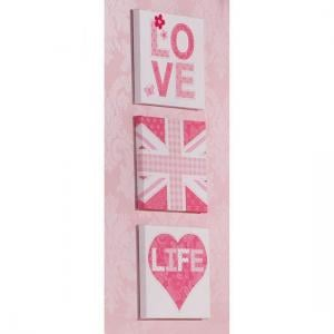 Set of 3 Love Life Pink Wall Art
