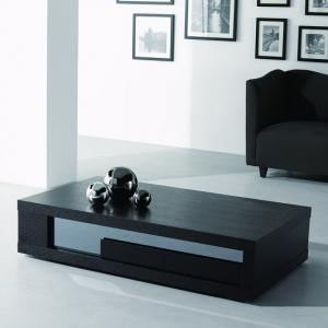 Andrea Coffee Table In Black Wood With Glass Inserts