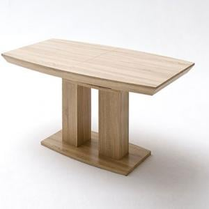 Napoli Extending Dining Table In Rough Sawn Oak With Wooden Base