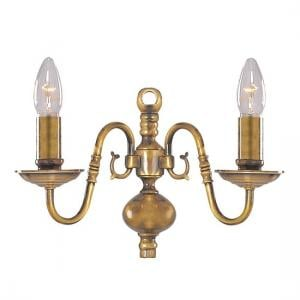 Flemish Antique Brass Wall Light With Metal Candle Covers
