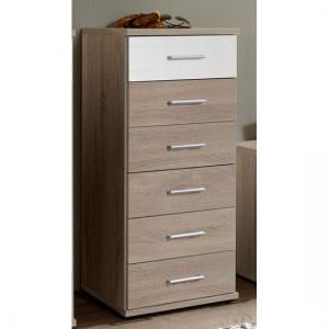 Gastineau 6 Drawer Chests In Oak And White Alpine Gloss