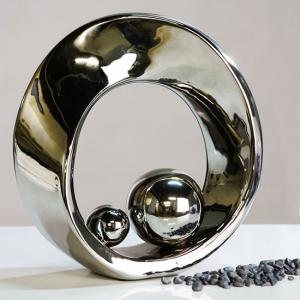 Spin Sculpture In Ceramic Silver Glazed With Balls