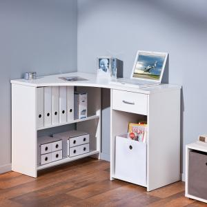 Halifax Corner Computer Desk In White With Drawer And Shelves