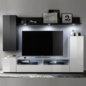 Delta Living Room Furniture Set 2 In White And Black High Gloss