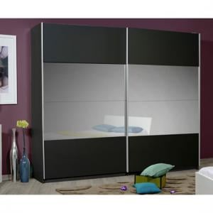 Optimus Black 2 Door Sliding Wardrobe With Grey Glass In Middle