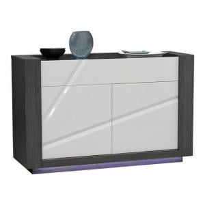 Quatro Glass Top Wooden Sideboard In White Gloss With LED Lights