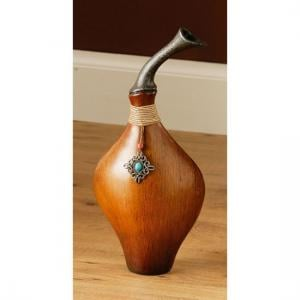 Traditional Jewels Vase Small In Wood Effect And Turquoise