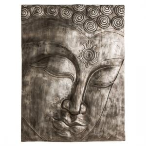 Francesca Buddha Wall Plaque In Antique Silver Finish
