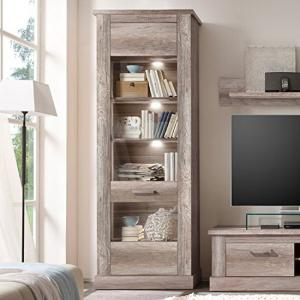 Montreal Display Cabinet In Monument Canyon Oak With LED