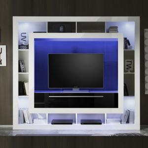 Melody LCD TV Stand In Gloss White Black With Shelving And LEDs