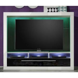 Melody LCD TV Stand In Gloss White And Black With LED Lighting