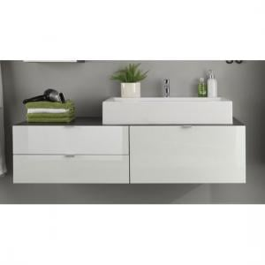 Beach Vanity Cabinet And Washbasin In Grey With White High Gloss