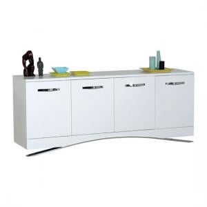 Smooth High Gloss White Sideboard With 4 Doors