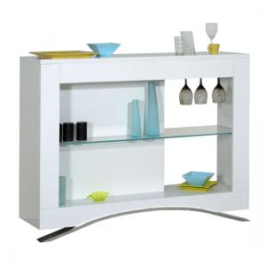 Smooth High Gloss White Bar Unit With Glass Shelf