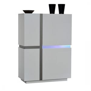Crossana Storage Cabinet In White Gloss With 2 Door And LED
