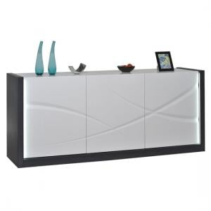 Eclypse Sideboard In Dark Grey With White Gloss 3 Door And Light