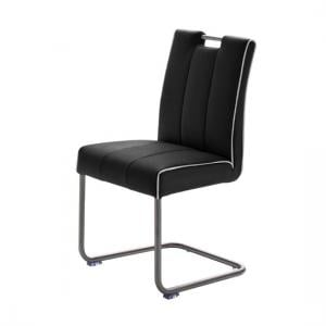 Wilson Black Faux Leather Metal Swinging Dining Chair