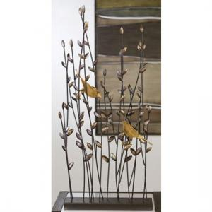 Albero Ornament With Bronce Finish 2 Birds in Metal Branches