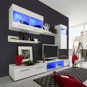 Westbourne Living Room Set In White Gloss Fronts With LED