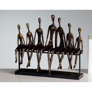 Community Sculpture In Bronze With Black Metal Base
