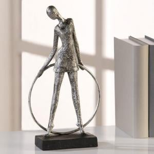Artist Sculpture In Poly Metal Silver With Black Base