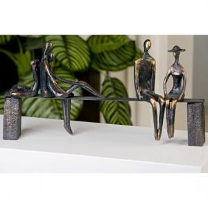 Leisure Sculpture In Bronze With Black Bench