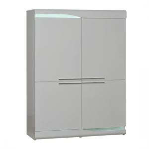 Merida Storage Cabinet In White Lacquer With 4 Doors And LEDs