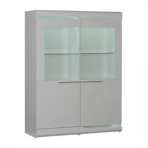 Merida Display Cabinet Wide In White Gloss With 2 Door And LED
